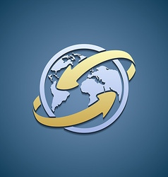 Logo Planet Earth with arrows vector image