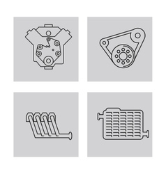 Machine icon set over frames Auto part design vector
