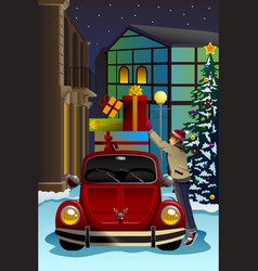 Man driving car with christmas presents vector