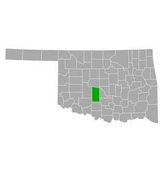 map grady in oklahoma vector image