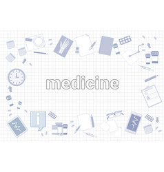 medicine stuff on squared notebook paper vector image