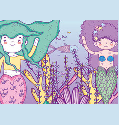 mermaids women underwater with fishes and plants vector image