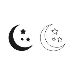 moon and stars outline isolated vector image
