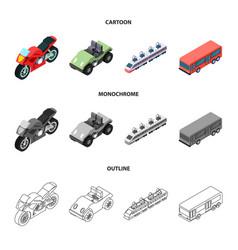 Motorcycle golf cart train bus transport set vector
