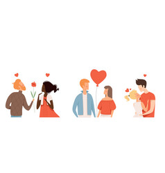 multicultural couple in love people hugging vector image