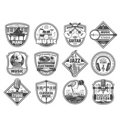 Music station sound recording studio icons vector