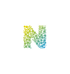n particle letter logo icon design vector image