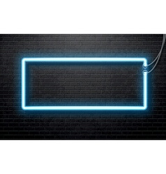 Neon blue banner isolated on black brick wall vector