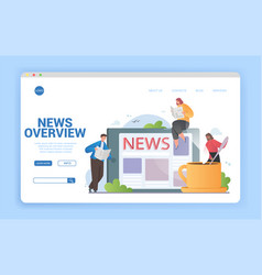 News overview concept online and in print vector