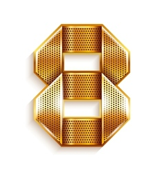 Number metal gold ribbon - 8 - eight vector