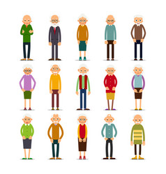 old people set of diverse elderly people with vector image