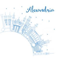 Outline alexandria egypt city skyline with blue vector