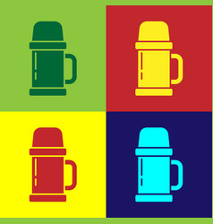 Pop art thermos container icon isolated on color vector