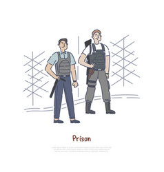 Prison guard with tools and equipment officer vector