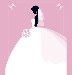 Profile of the bride in a wedding dress with a vector