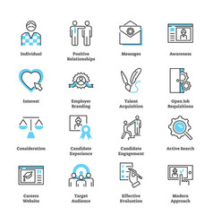 recruitment marketing icon collection set vector image