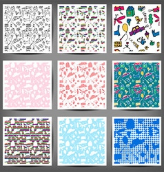 Seamless pattern drawn in a childlike style Set vector
