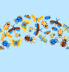 seamless pattern with insects stylized vector image