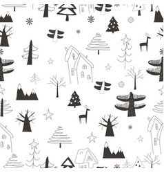 seamless pattern with village in forest on a vector image