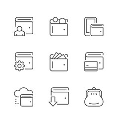 set line icons wallet vector image