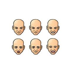 Set of bald men icons vector image