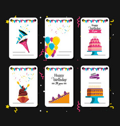 set of birthday card with decoration vector image