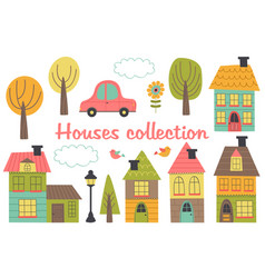 set of isolated houses and other elements part 1 vector image