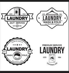 Set of labels or logos for laundry service vector