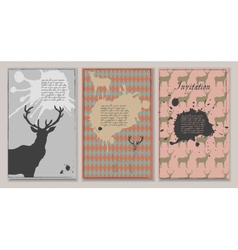 Set of three invitations with deers and blots vector