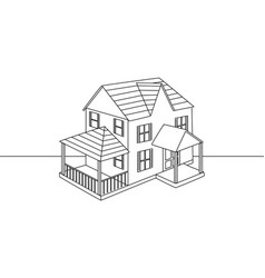 single line drawing of an isolated family house v vector image