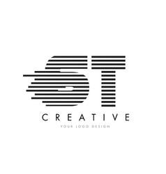 st s t zebra letter logo design with black and vector image