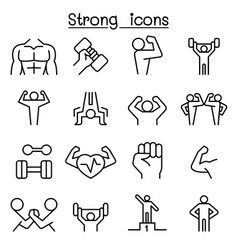Strong icon set in thin line style vector