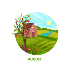 summer flat with small house vector image