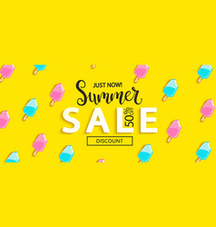summer sale bitten ice cream banner vector image