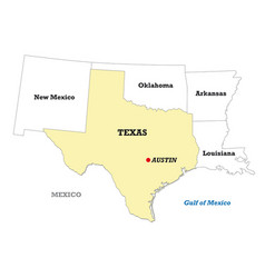 texas state map with neighboring states vector image