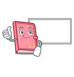 thumbs up with board diary character cartoon style vector image