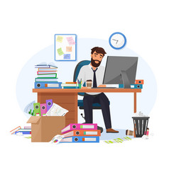 Tired sleepy male office worker stays late on vector