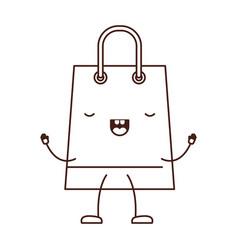 trapezoid animated kawaii shopping bag icon with vector image
