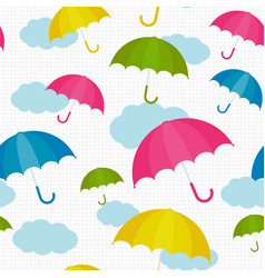 umbrella colorful set pattern with clouds vector image