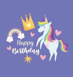 unicorn with rainbow hair crown star hearts vector image