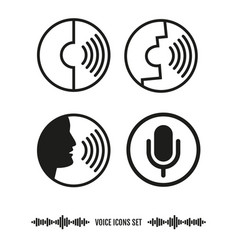Voice recognition icons set biometrics vector