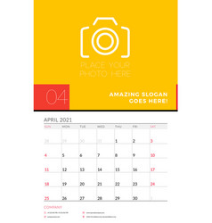 Wall calendar planner template for april 2021 vector