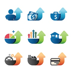 Arrow Graph chart Business concept Icons set vector image vector image
