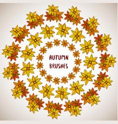 autumn decoration flowers leaves frame set vector image