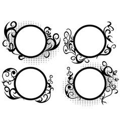Circle floral frame decoration vector image