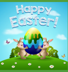 happy easter background with two rabbits and egg vector image