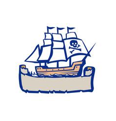 Pirate galleon ship sailing retro vector