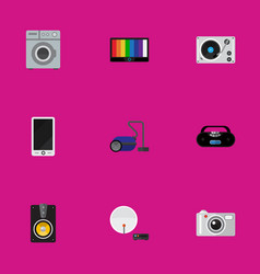 set of 9 editable tech icons includes symbols vector image