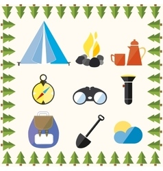 Tree Wild Camp Rest Equipment Vacation Mountain vector image vector image