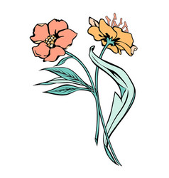 two flowers black contour with fill vector image
